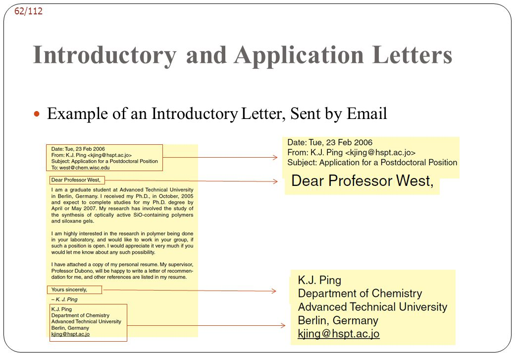 61/112 Introductory and Application Letters At the other extreme, occasional emails arrive with no salutation beyond the name at the top and the subje