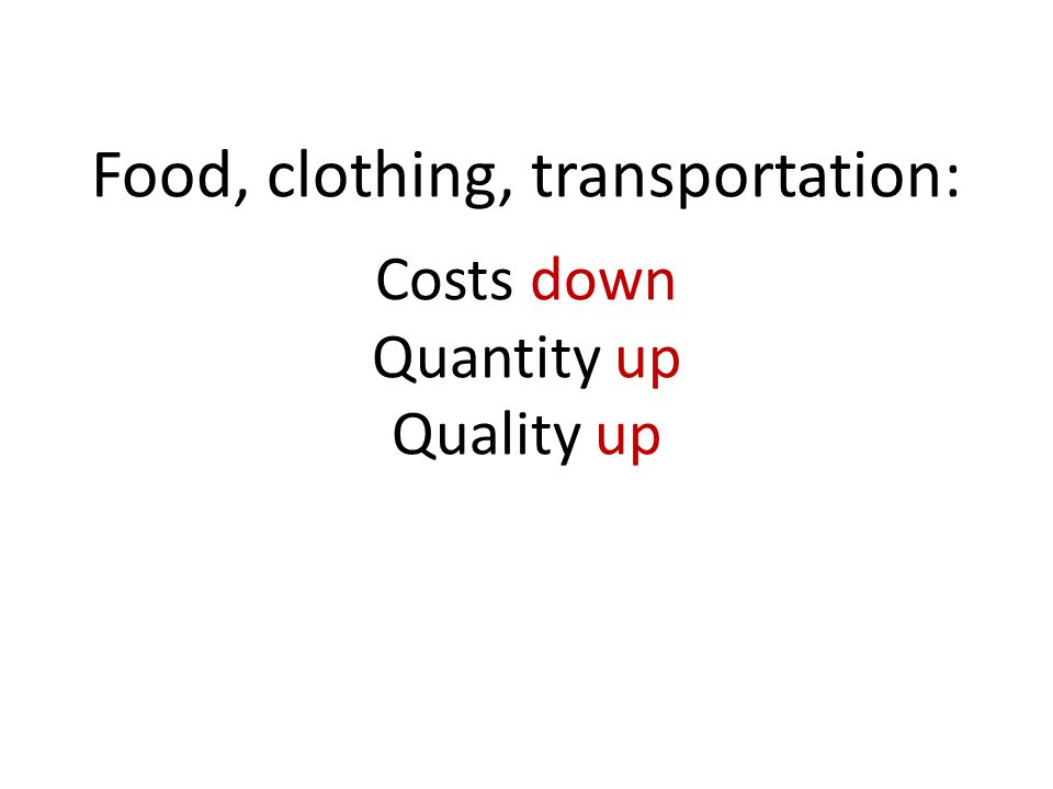 Food, clothing, transportation: Costs down Quantity up Quality up