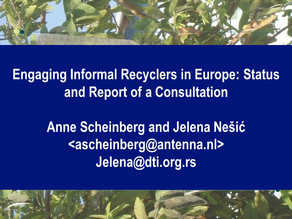 Engaging Informal Recyclers in Europe: Status and Report of a Consultation Anne Scheinberg and Jelena Nešić Jelena@dti.org.rs 1
