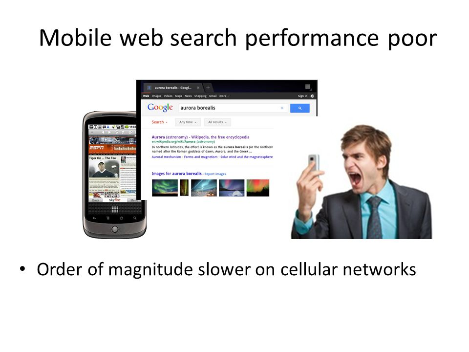 Mobile web search performance poor Order of magnitude slower on cellular networks
