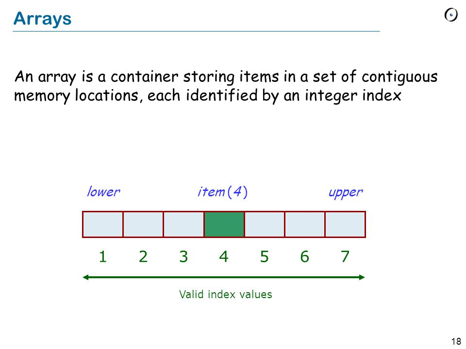18 Arrays An array is a container storing items in a set of contiguous memory locations, each identified by an integer index Valid index values lowerupper 1 item (4 ) 234567