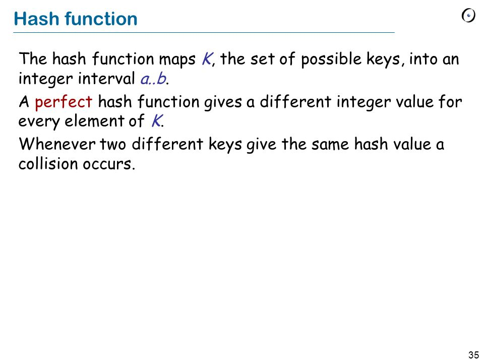 35 Hash function The hash function maps K, the set of possible keys, into an integer interval a..b.