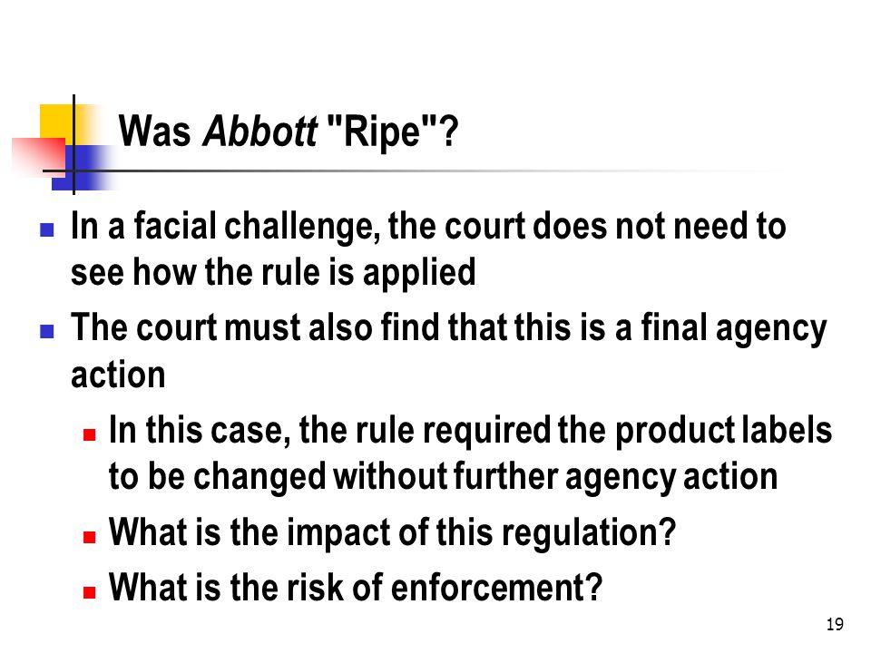 19 Was Abbott Ripe .