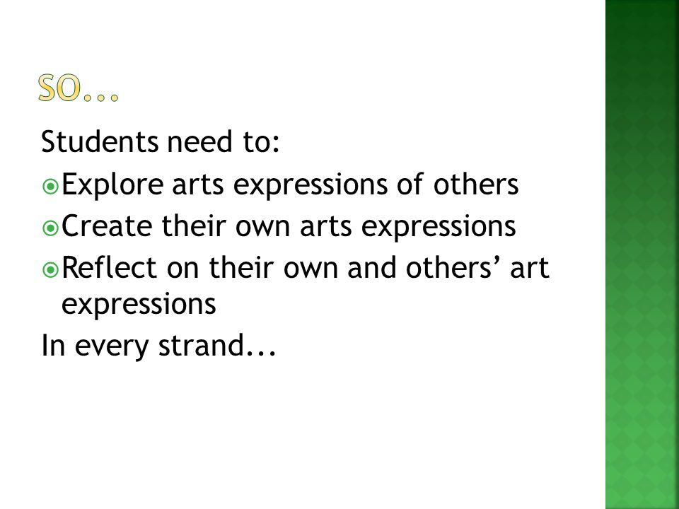 Students need to:  Explore arts expressions of others  Create their own arts expressions  Reflect on their own and others' art expressions In every