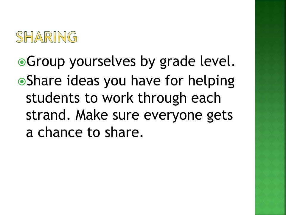  Group yourselves by grade level.  Share ideas you have for helping students to work through each strand. Make sure everyone gets a chance to share.