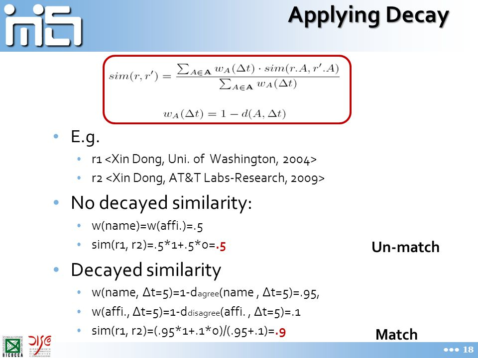 Applying Decay E.g. r1 r2 No decayed similarity: w(name)=w(affi.)=.5 sim(r1, r2)=.5*1+.5*0=.5 Decayed similarity w(name, ∆t=5)=1-d agree (name, ∆t=5)=