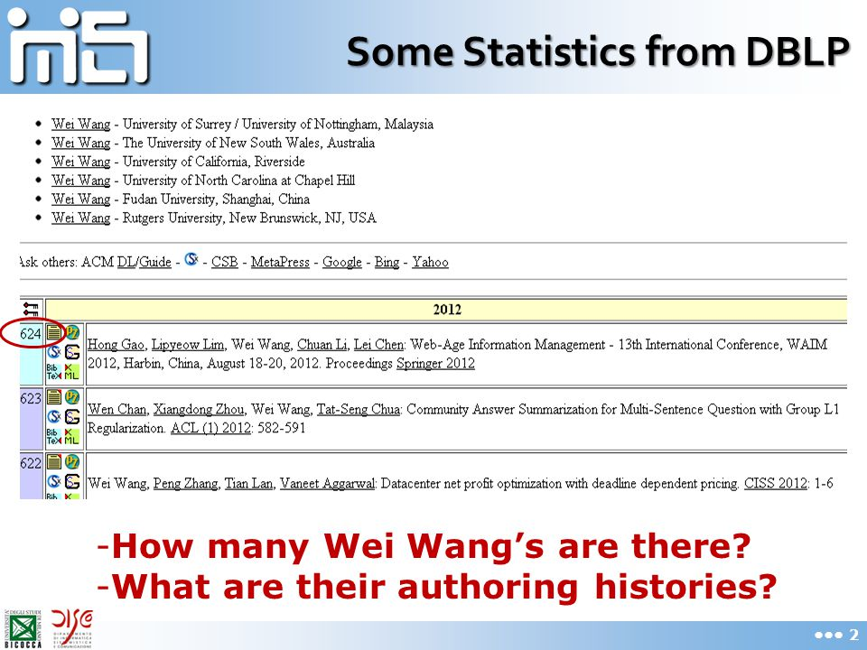 Some Statistics from DBLP -How many Wei Wang's are there? -What are their authoring histories? 2