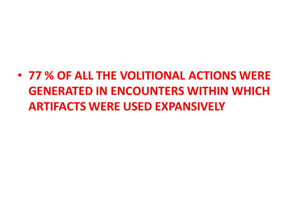 77 % OF ALL THE VOLITIONAL ACTIONS WERE GENERATED IN ENCOUNTERS WITHIN WHICH ARTIFACTS WERE USED EXPANSIVELY