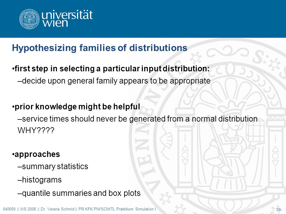 Hypothesizing families of distributions first step in selecting a particular input distribution: –decide upon general family appears to be appropriate prior knowledge might be helpful –service times should never be generated from a normal distribution WHY .