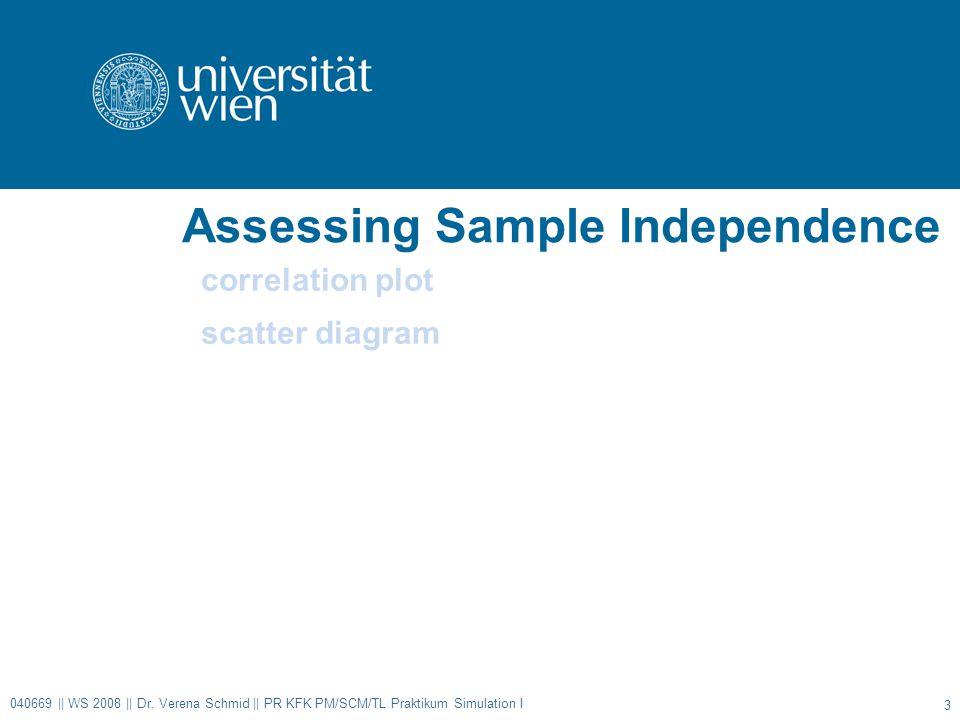 Assessing Sample Independence correlation plot scatter diagram 040669 || WS 2008 || Dr.