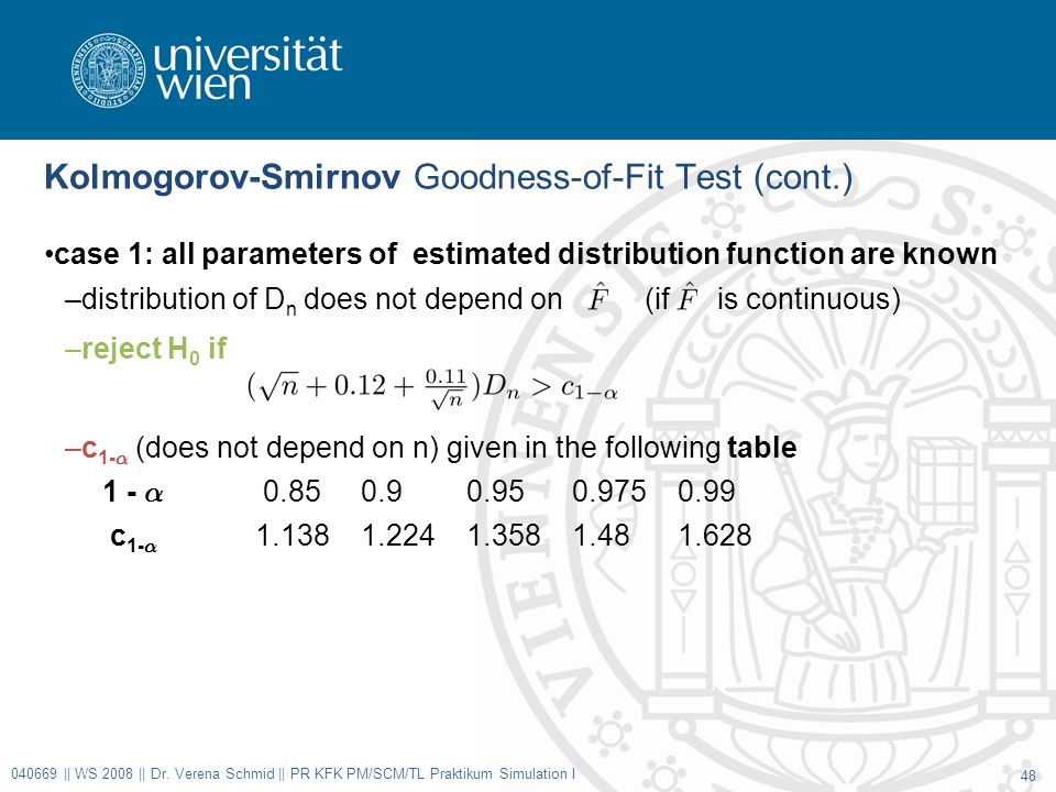 Kolmogorov-Smirnov Goodness-of-Fit Test (cont.) case 1: all parameters of estimated distribution function are known –distribution of D n does not depend on (if is continuous) –reject H 0 if –c 1- ® (does not depend on n) given in the following table 1 - ® 0.850.90.950.9750.99 c 1- ® 1.1381.2241.3581.481.628 040669 || WS 2008 || Dr.
