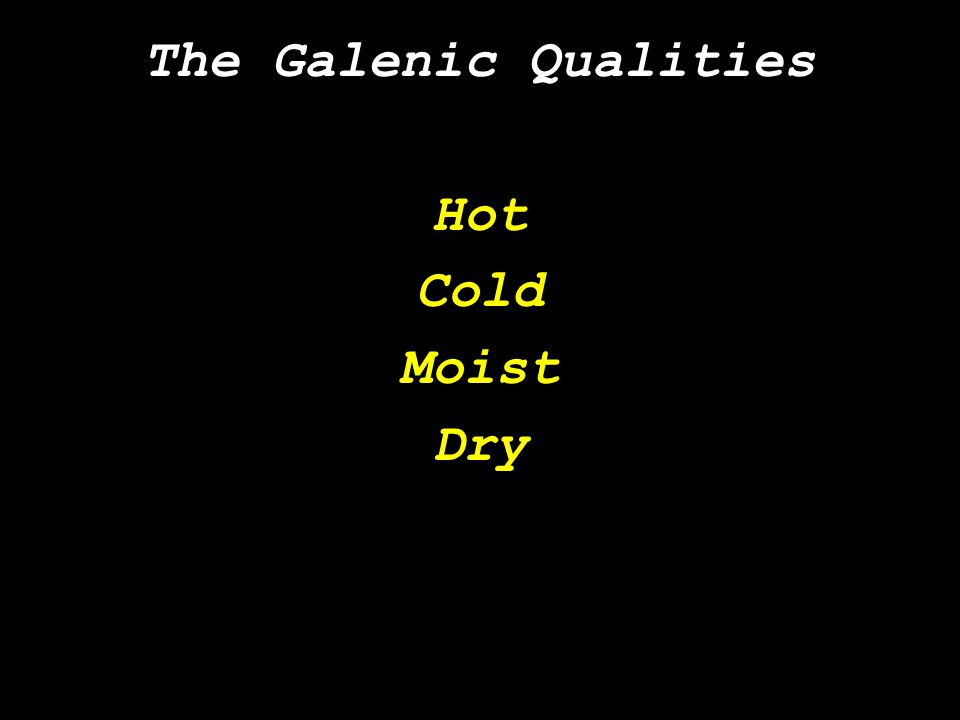 The Galenic Qualities Hot Cold Moist Dry