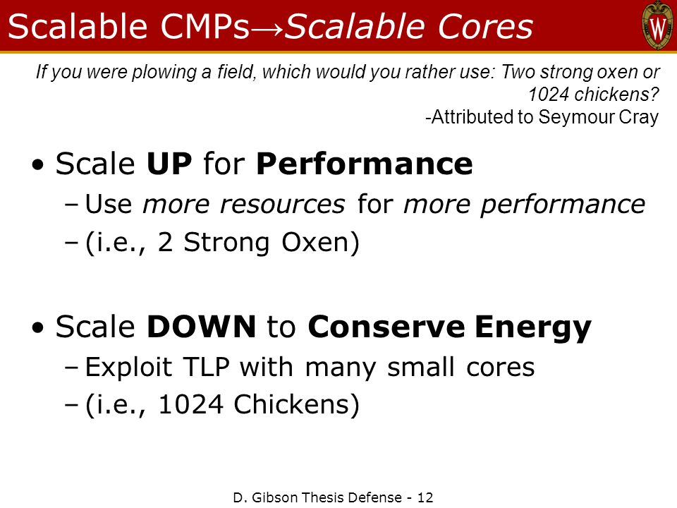 Scalable CMPs → Scalable Cores Scale UP for Performance –Use more resources for more performance –(i.e., 2 Strong Oxen) Scale DOWN to Conserve Energy –Exploit TLP with many small cores –(i.e., 1024 Chickens) If you were plowing a field, which would you rather use: Two strong oxen or 1024 chickens.