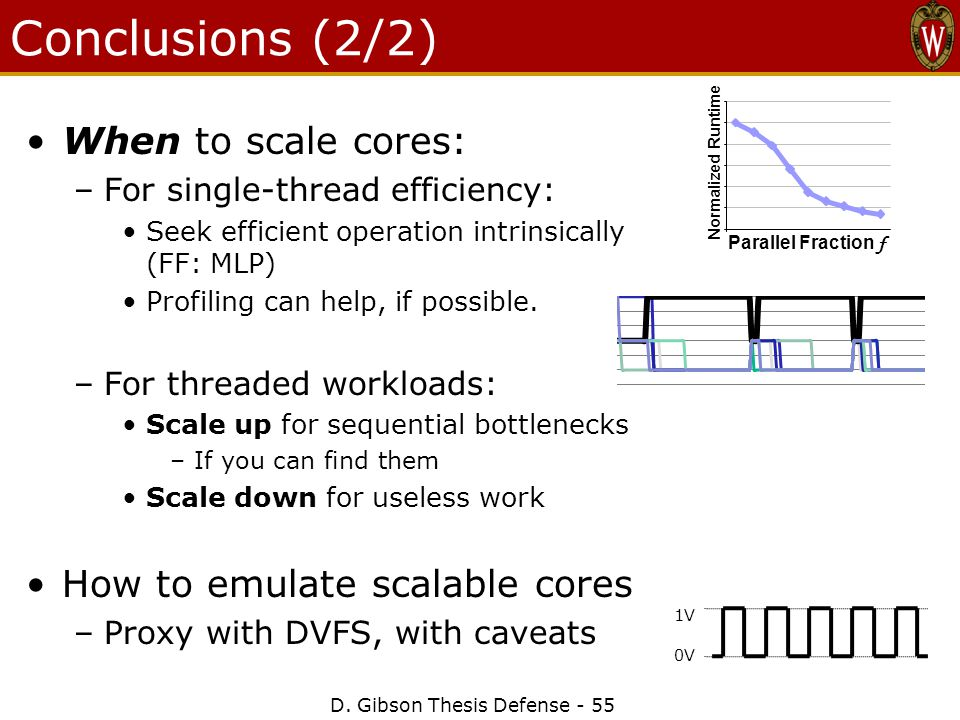 Conclusions (2/2) When to scale cores: –For single-thread efficiency: Seek efficient operation intrinsically (FF: MLP) Profiling can help, if possible.