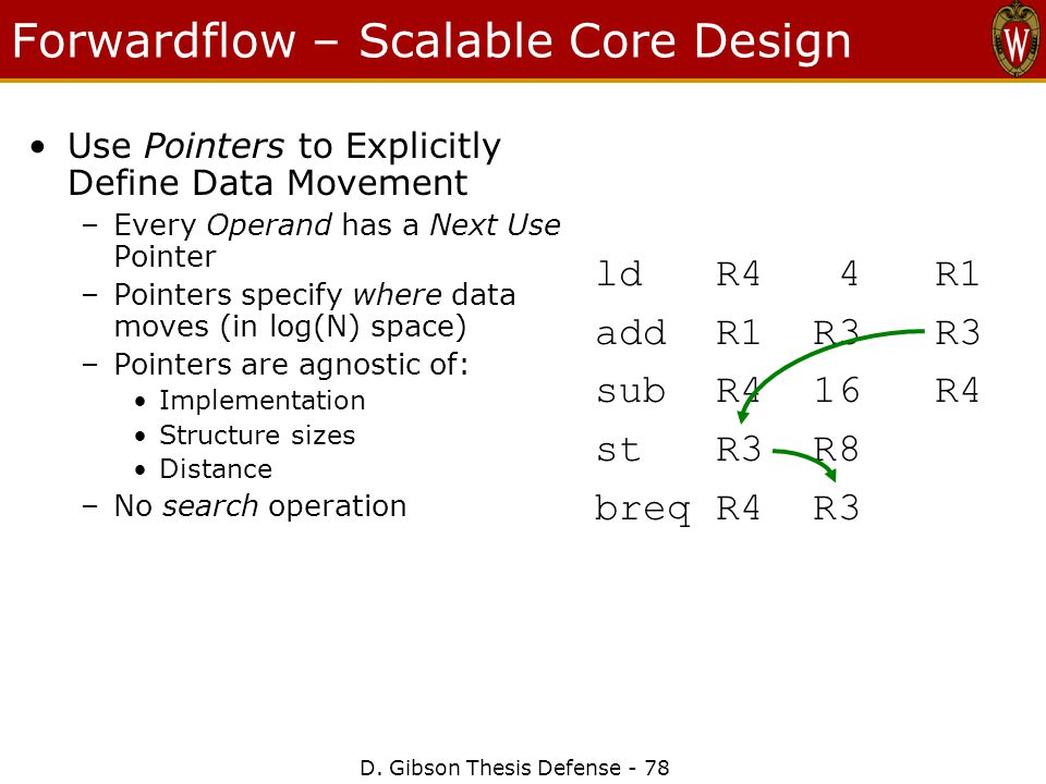 D. Gibson Thesis Defense - 78 Forwardflow – Scalable Core Design Use Pointers to Explicitly Define Data Movement –Every Operand has a Next Use Pointer