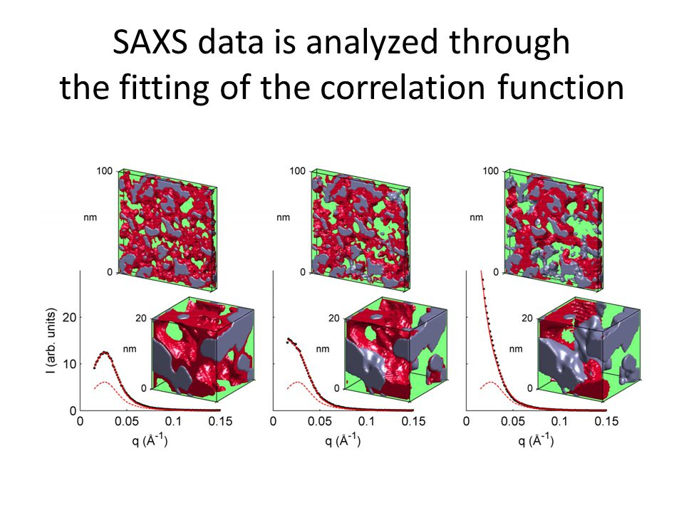 SAXS data is analyzed through the fitting of the correlation function