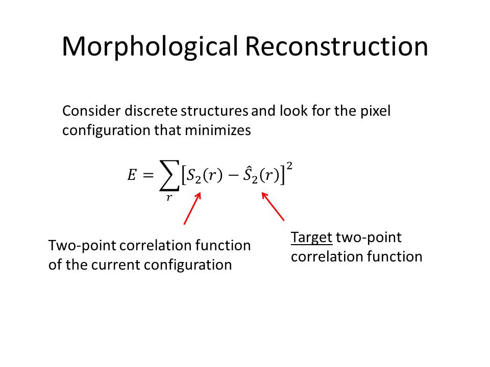 Morphological Reconstruction Consider discrete structures and look for the pixel configuration that minimizes Two-point correlation function of the cu