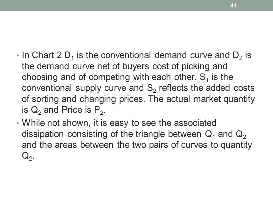 In Chart 2 D 1 is the conventional demand curve and D 2 is the demand curve net of buyers cost of picking and choosing and of competing with each othe