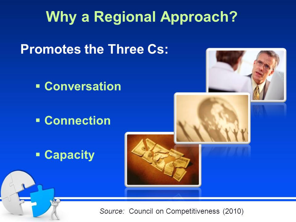Why a Regional Approach? Promotes the Three Cs:  Conversation  Connection  Capacity Source: Council on Competitiveness (2010)