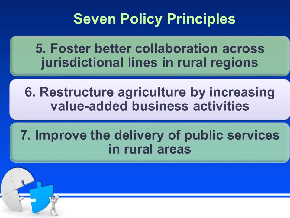 5. Foster better collaboration across jurisdictional lines in rural regions 6. Restructure agriculture by increasing value-added business activities 7