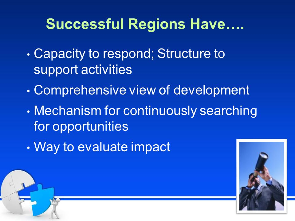 Successful Regions Have…. Capacity to respond; Structure to support activities Comprehensive view of development Mechanism for continuously searching