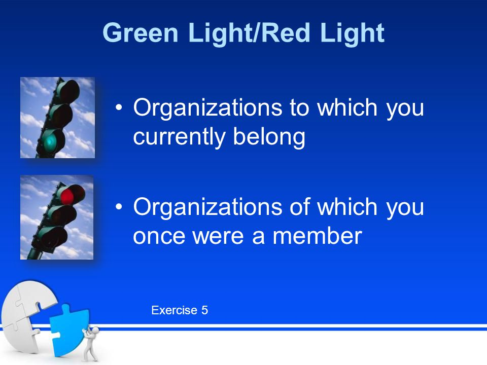 Green Light/Red Light Organizations to which you currently belong Organizations of which you once were a member Exercise 5