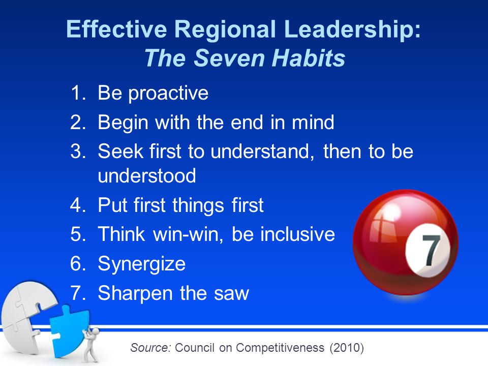 Effective Regional Leadership: The Seven Habits 1.Be proactive 2.Begin with the end in mind 3.Seek first to understand, then to be understood 4.Put first things first 5.Think win-win, be inclusive 6.Synergize 7.Sharpen the saw Source: Council on Competitiveness (2010)