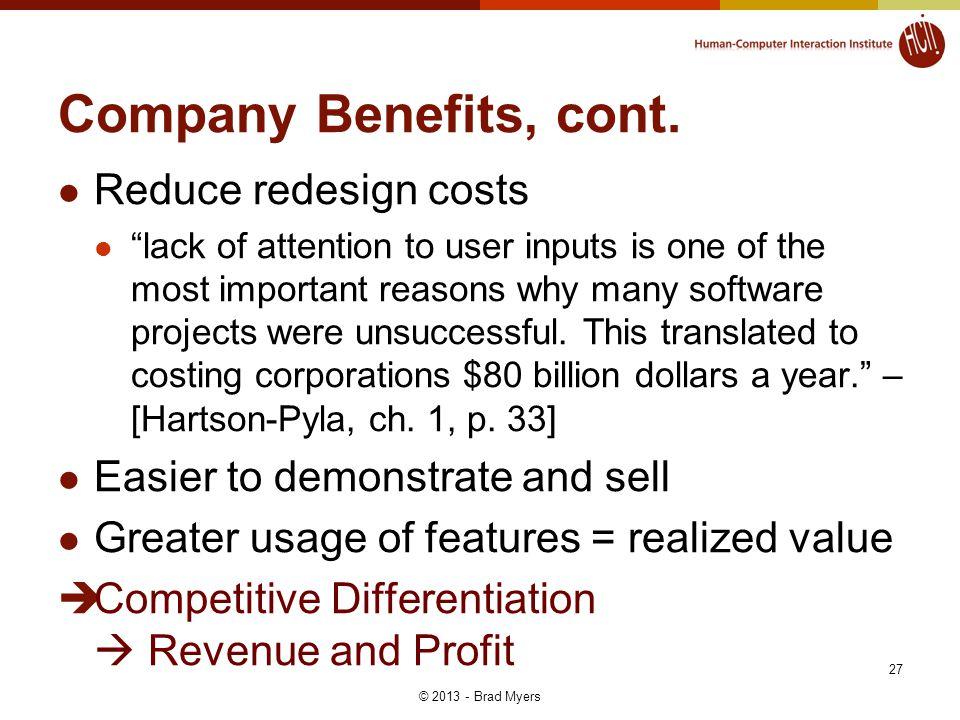 Company Benefits, cont.