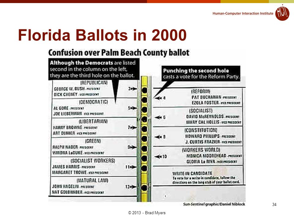 34 Florida Ballots in 2000 © 2013 - Brad Myers