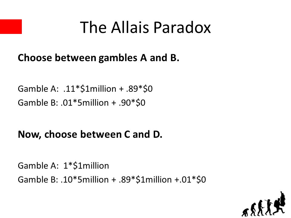 The Allais Paradox Choose between gambles A and B. Gamble A:.11*$1million +.89*$0 Gamble B:.01*5million +.90*$0 Now, choose between C and D. Gamble A: