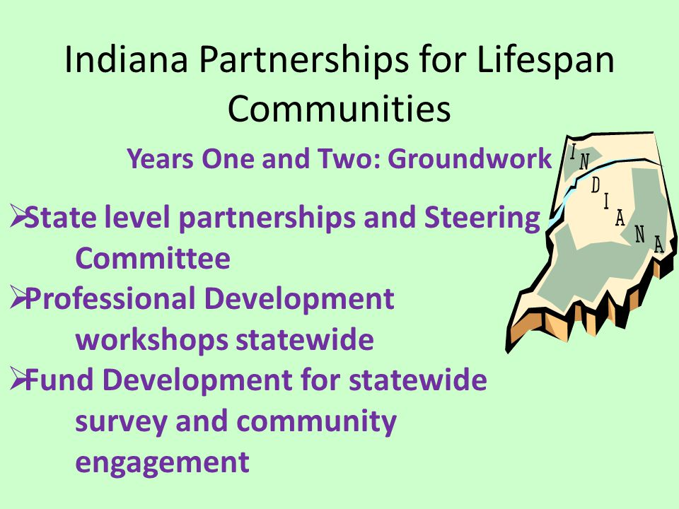 Indiana Partnerships for Lifespan Communities Years One and Two: Groundwork  State level partnerships and Steering Committee  Professional Development workshops statewide  Fund Development for statewide survey and community engagement