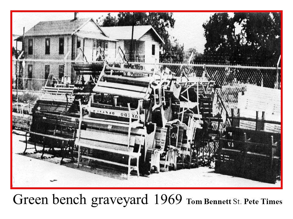 Green bench graveyard 1969 Tom Bennett St. Pete Times