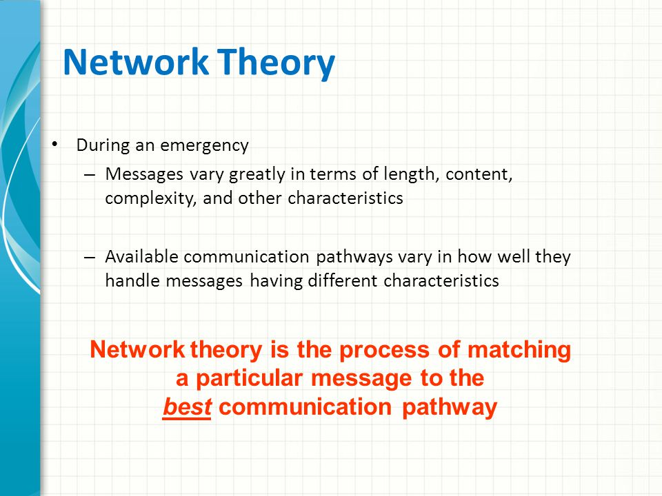 Topic 3 - Network Theory and the Design of Emergency Communication Systems