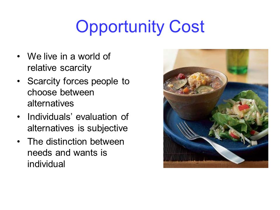 Opportunity Cost We live in a world of relative scarcity Scarcity forces people to choose between alternatives Individuals' evaluation of alternatives