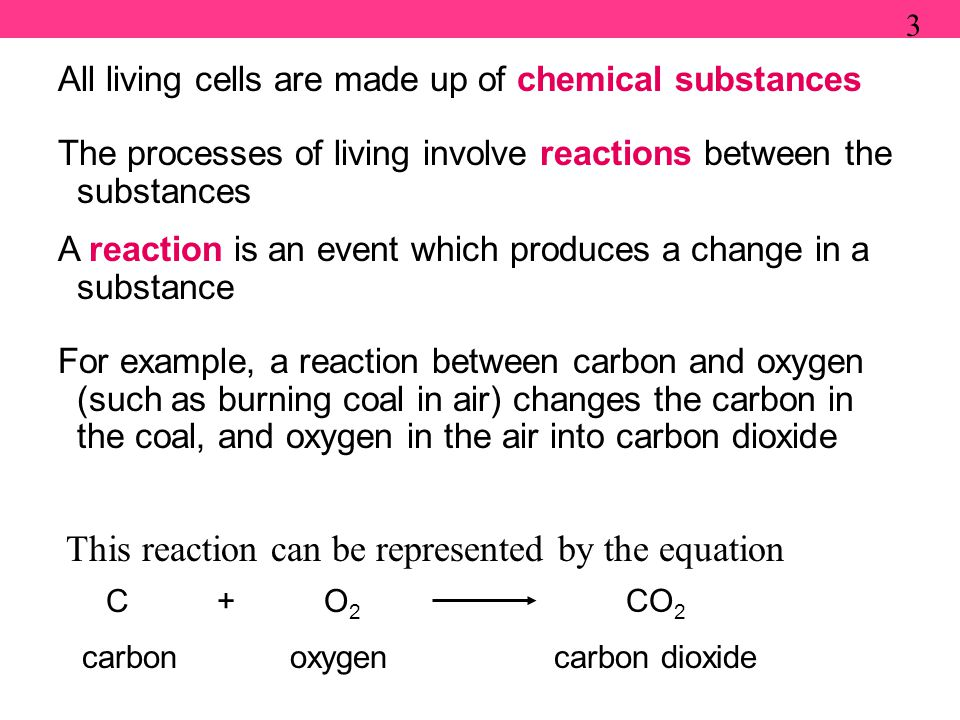 All living cells are made up of chemical substances The processes of living involve reactions between the substances A reaction is an event which produces a change in a substance For example, a reaction between carbon and oxygen (such as burning coal in air) changes the carbon in the coal, and oxygen in the air into carbon dioxide 3 This reaction can be represented by the equation C + O 2 CO 2 carbonoxygencarbon dioxide