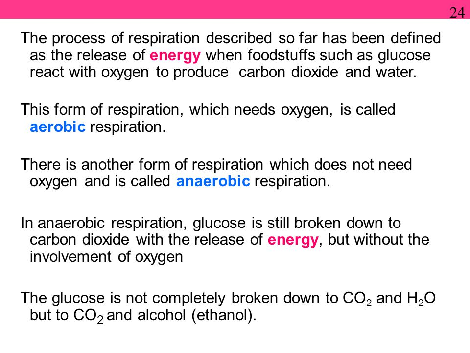 The process of respiration described so far has been defined as the release of energy when foodstuffs such as glucose react with oxygen to produce carbon dioxide and water.