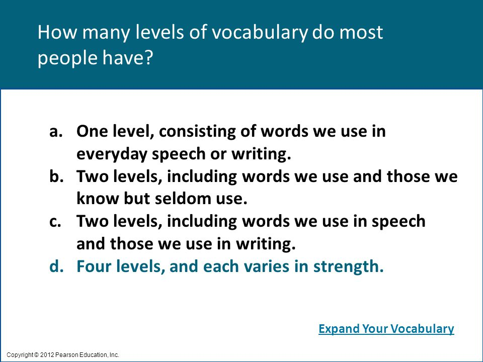 How many levels of vocabulary do most people have.