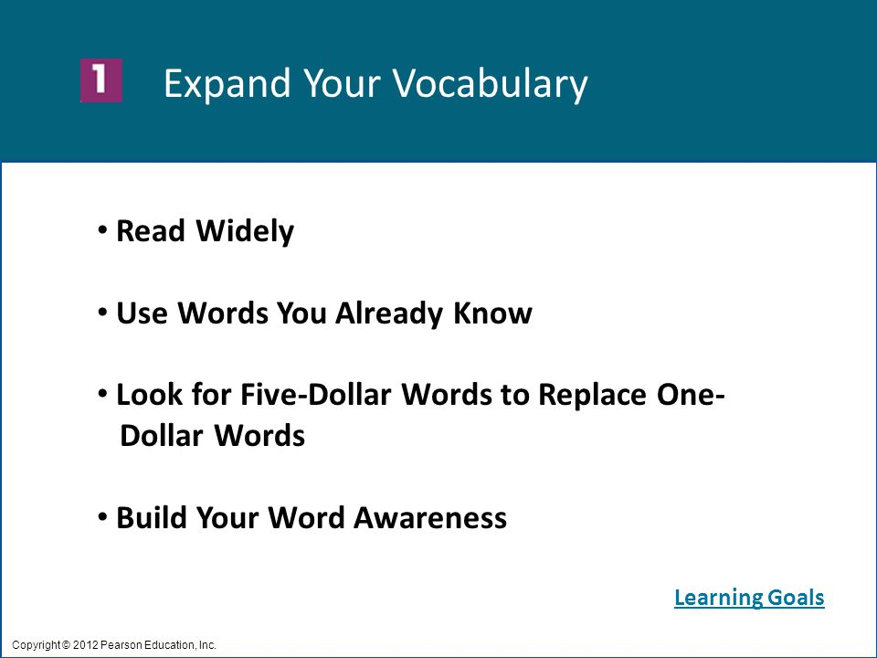 Expand Your Vocabulary Copyright © 2012 Pearson Education, Inc.