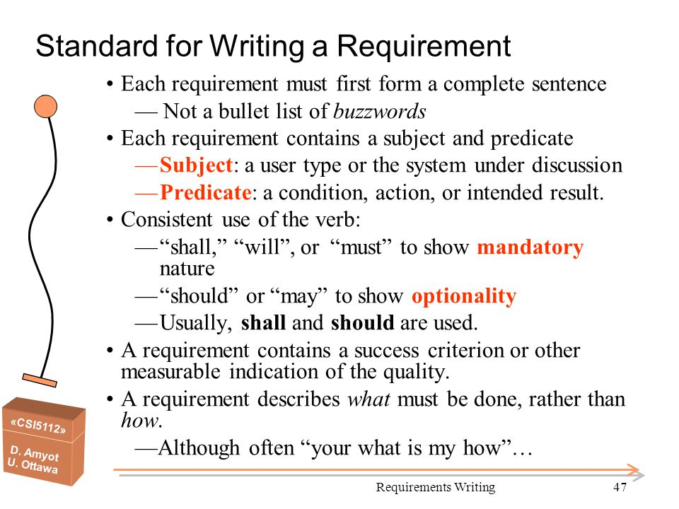 «CSI5112» D. Amyot U. Ottawa Standard for Writing a Requirement Each requirement must first form a complete sentence — Not a bullet list of buzzwords