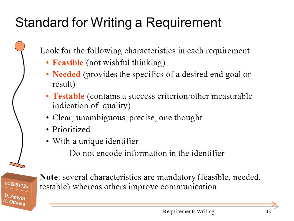 «CSI5112» D. Amyot U. Ottawa Standard for Writing a Requirement Look for the following characteristics in each requirement Feasible (not wishful think