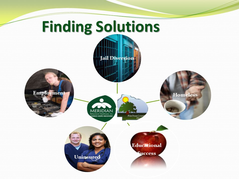 Finding Solutions Finding Solutions p Jail Diversion Homeless Educational Success Uninsured Employment