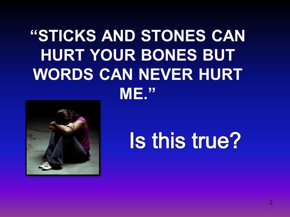STICKS AND STONES CAN HURT YOUR BONES BUT WORDS CAN NEVER HURT ME. 2