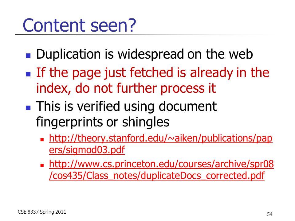 CSE 8337 Spring 2011 54 Content seen.