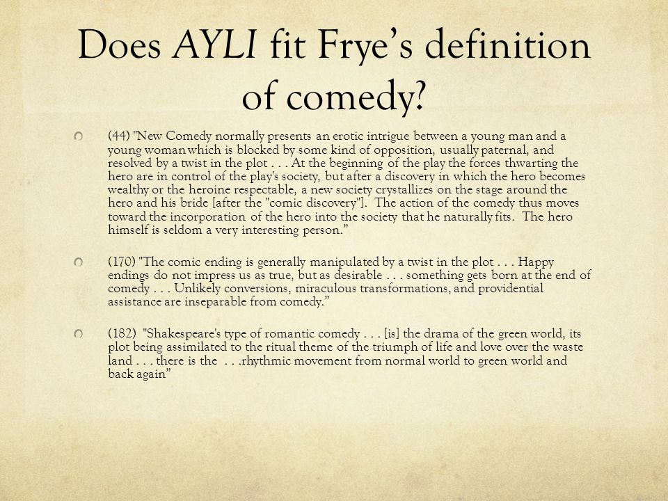 Does AYLI fit Frye's definition of comedy.