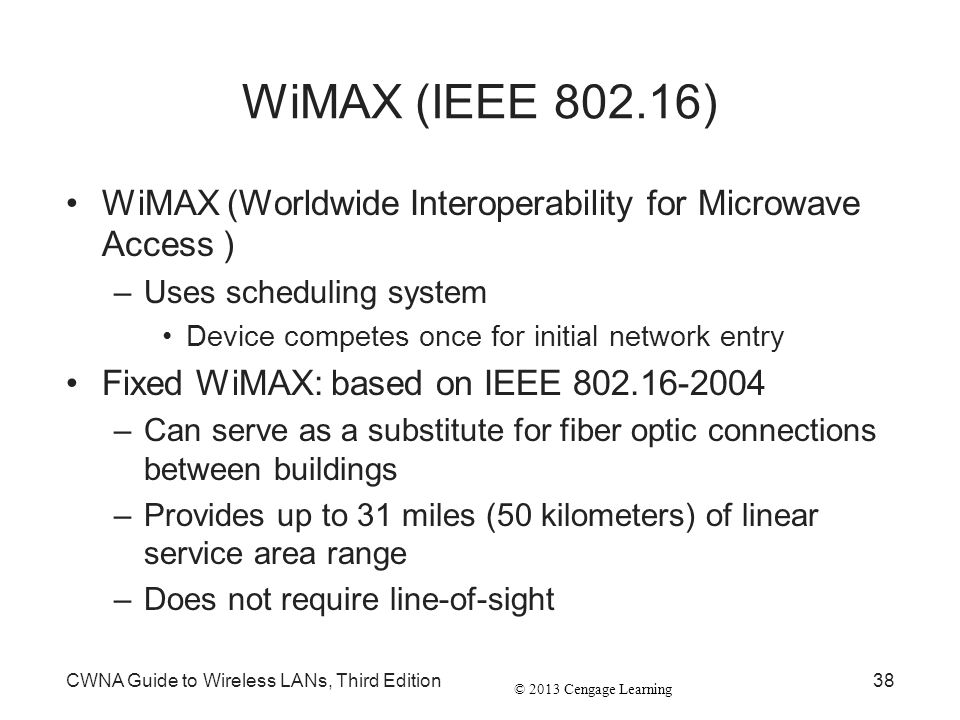 © 2013 Cengage Learning CWNA Guide to Wireless LANs, Third Edition38 WiMAX (IEEE 802.16) WiMAX (Worldwide Interoperability for Microwave Access ) –Use