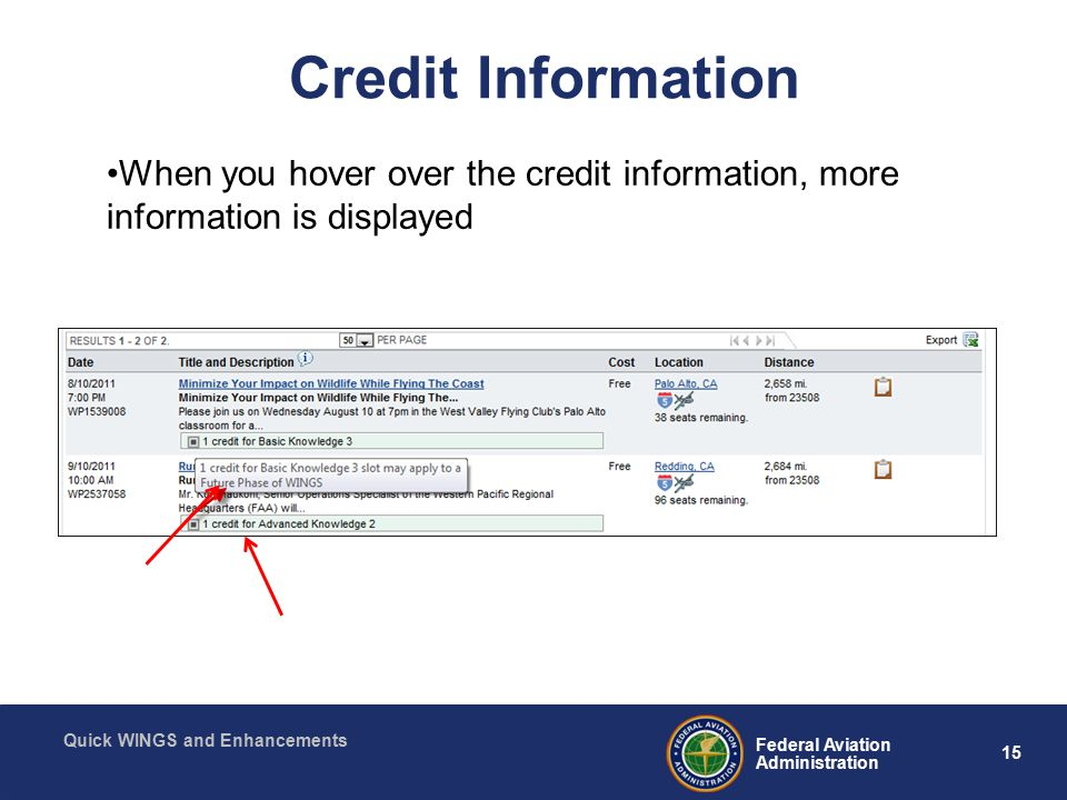 15 Federal Aviation Administration Quick WINGS and Enhancements Credit Information When you hover over the credit information, more information is displayed