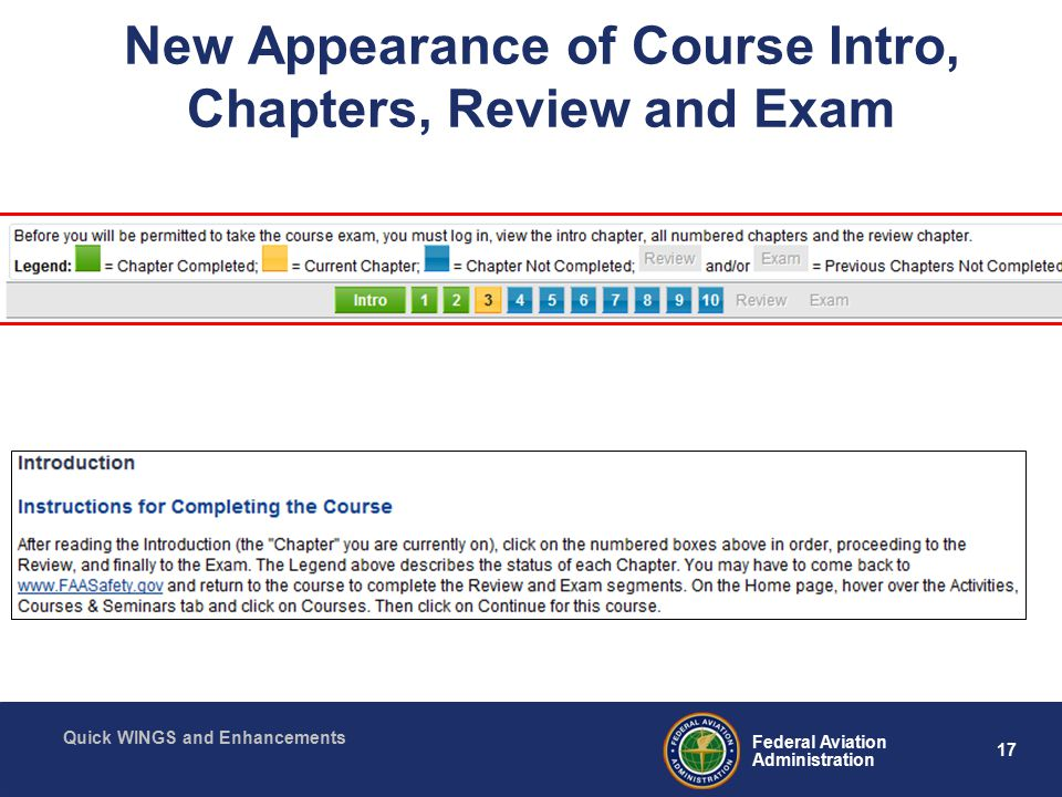 17 Federal Aviation Administration Quick WINGS and Enhancements New Appearance of Course Intro, Chapters, Review and Exam
