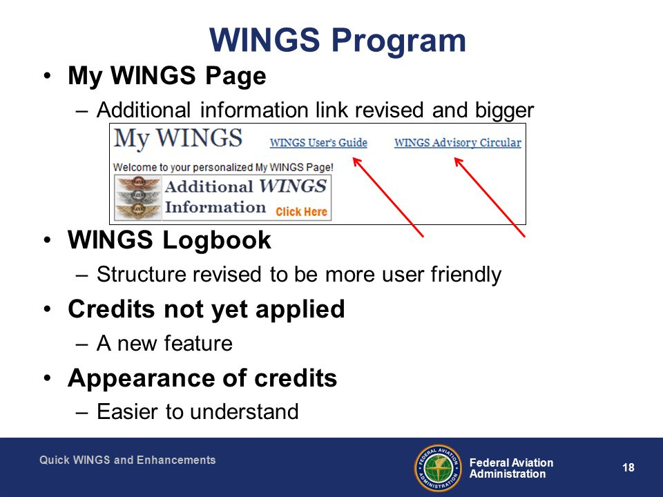 18 Federal Aviation Administration Quick WINGS and Enhancements WINGS Program My WINGS Page –Additional information link revised and bigger WINGS Logbook –Structure revised to be more user friendly Credits not yet applied –A new feature Appearance of credits –Easier to understand