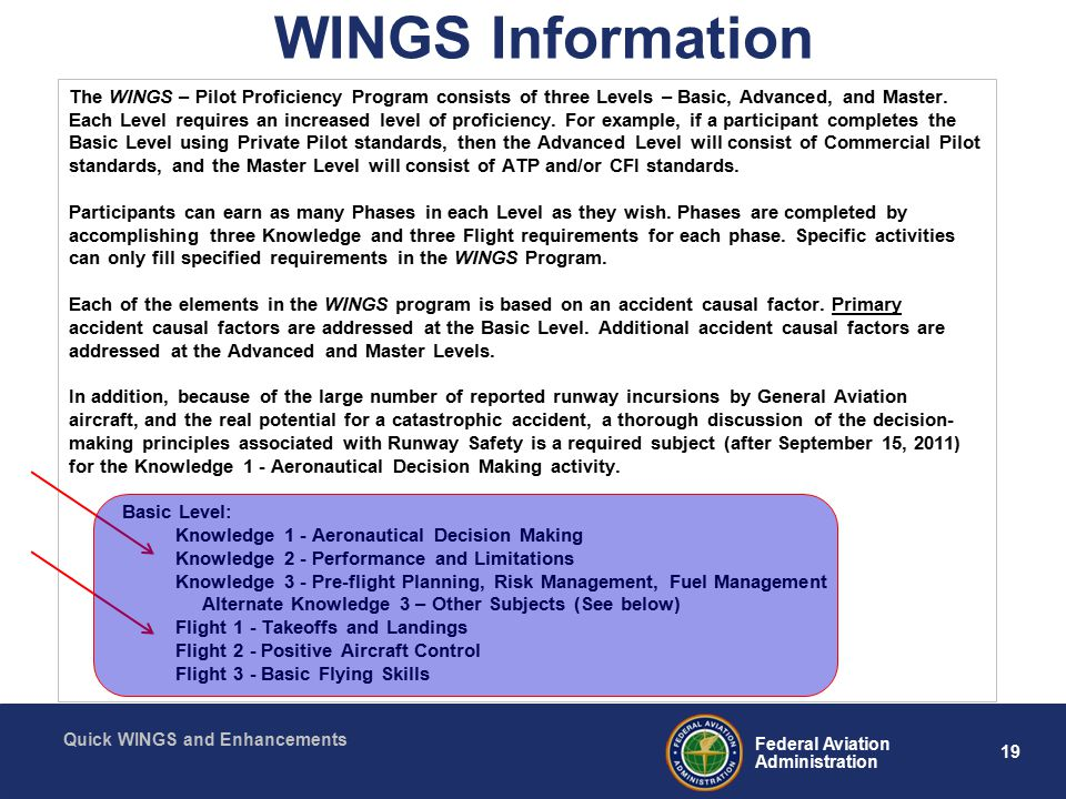 19 Federal Aviation Administration Quick WINGS and Enhancements WINGS Information The WINGS – Pilot Proficiency Program consists of three Levels – Basic, Advanced, and Master.