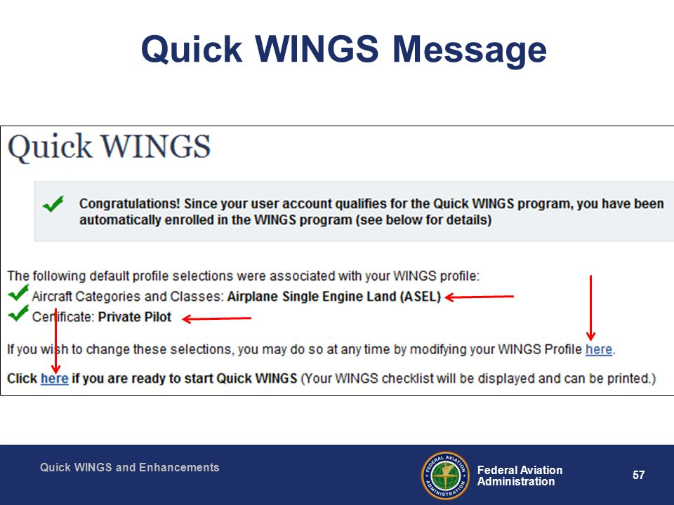 57 Federal Aviation Administration Quick WINGS and Enhancements Quick WINGS Message